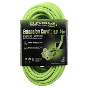 50FT,12 / 3, FLEXZILLA, GLOW STRIPE, 12GA,15A