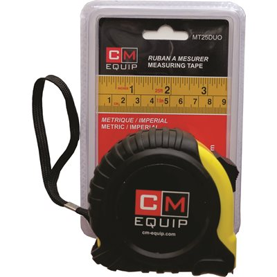 "CM 25'x1"" measuring tape, Metric and Imperial"