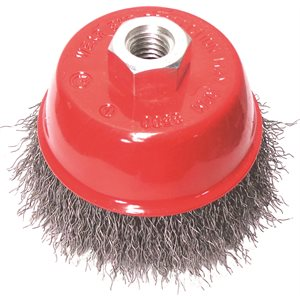 """3"""" Cup Brush 5 / 8-11"""", Wire.012, (Crimped)"""