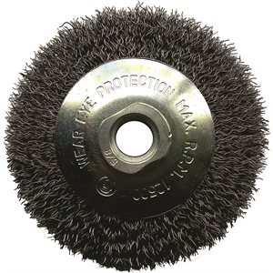 """4"""" Saucer Brush 5 / 8-11"""", Wire .012, (crimped)"""