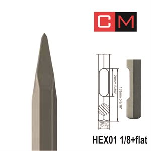 """HEX01 1 / 8+Flat; Pointed chisel; 16"""""""
