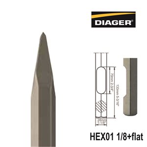 HEX01 1 / 8+Flat; Pointed chisel; 1 1 / 8x16